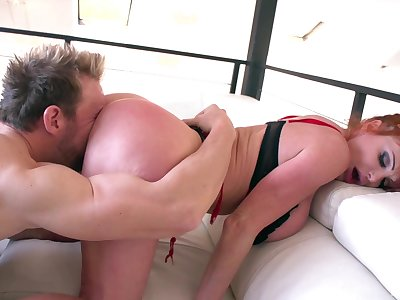 Curvy of age with beefy tits, nasty couch sex and cum on boobs