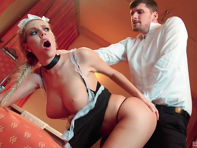 Maid Florane Russell sucks a dildo added to gets fucked by the master