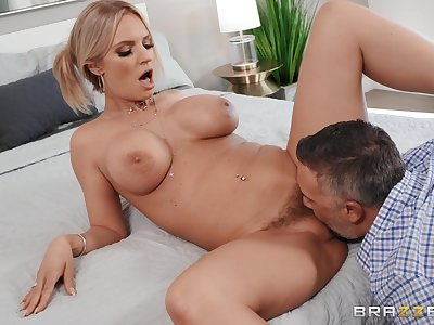 Blonde MILF with premium curves, nasty couch sex at home