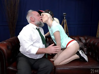 Young beauteous suits her sexual needs with an age-old cock