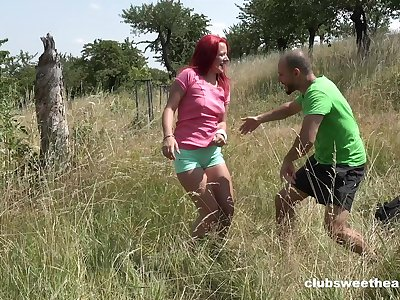 Redhead cutie Tiffany Love opens her legs to be fucked in outdoors
