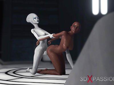 Alien dickgirl fucks ebony slave in space stati