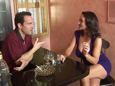 Busty brunette Persia Monir opens her legs for nice intercourse