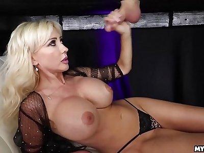 Jizz On Her Boobs - Big Tit Milf Milked His Cock