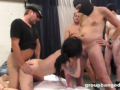 Unseeable ragtag wait in line to fuck this sexy arse wife