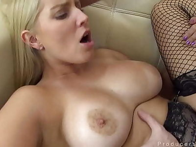 Busty Festival Thither Stockings Loves Obtaining Her Pussy Filled