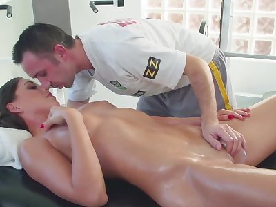 Slender incomprehensible seduced by tricky masseur with colossal cock