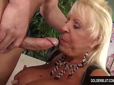 Busty Grandma Mandi McGraw Sucks a Horseshit and Then Rides It with Enthusiasm