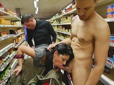 Amateur sucks and fucks at the supermarket