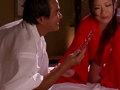 Enticing asian mom Yuri Shibasaki in ultra glam talisman fun