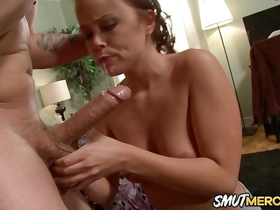 Perfect Blowjob and Cock Riding by Babe Kaci Starr Residuum with a Facial