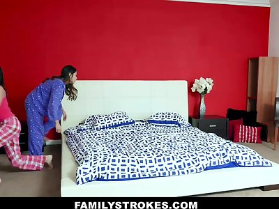 Emily Willis & Sami Parker almost Slumber Party With Stepdad - FamilyStrokes