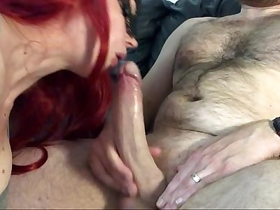 Big White Cock Suck & Huge Cumshot. Veil falls off, she doesn't notice and carries on sucking. Had to soothe her demasked element
