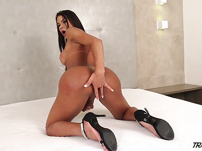 Amazing with the addition of mesmerizing busty shemale Erika Lee is happy to jerk yourself gone